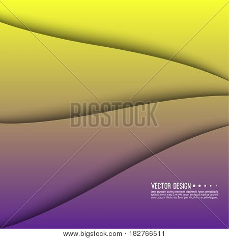 Abstract creative vector multicolored blurred background. Backdrop with gradient curves and waves. The concept of movement. The modern design. Colorful illustration with yellow, purple color.