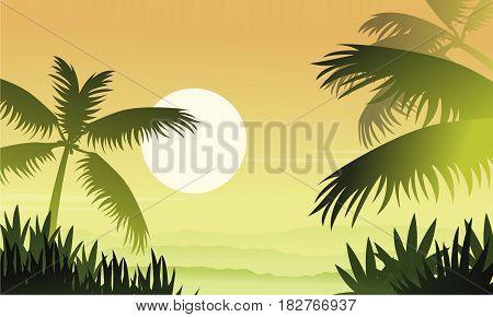Silhouette of jungle at sunrise scenery vector illustration
