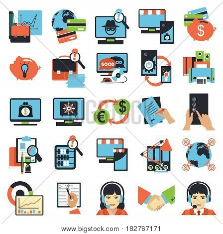 Vector business icons network technology database analyst productivity labor flat signs isolated white background