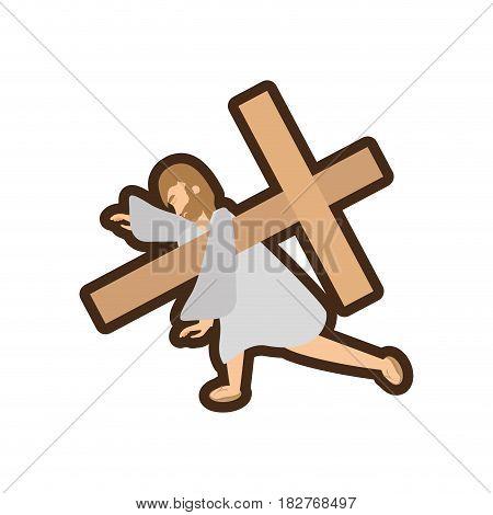 jesus christ third falls line vector illustration eps 10