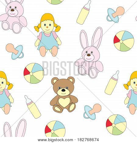 Seamless picture with toys for children. A vector pattern with a doll, a baby's dummy, a pacifier, a ball, a hare, a bear on a white background