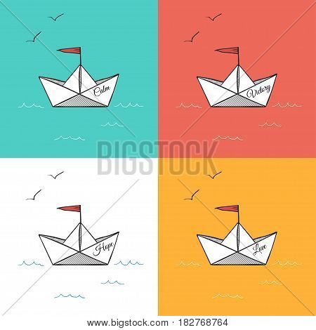Origami paper ships on sea with gulls, vector illustration, named hope love calm and victory