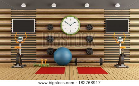 Gym with stationary bike pilates ball and hand weight - 3d rendering