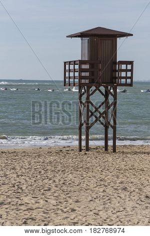 View of the beach lifeguard tower Cadiz Andalusia Spain