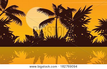 Silhouette of river on jungle scenery vector illustration