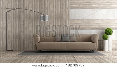 Wooden And Concrete Living Room