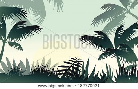 Silhouette of jungle forest beauty scenery vector illustration