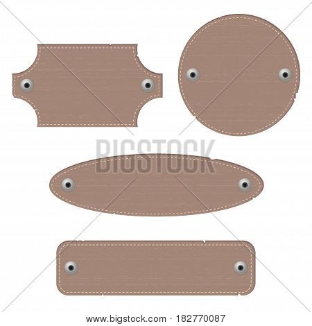 Leather labels with rivets. Different shapes. Vector illustration