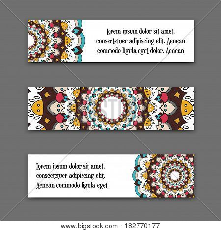 set vector horizontal banners with colorful mandala. The national collection of headers for the site. Islam, Arabic, Indian, ottoman motifs. Oriental colorful mandala.