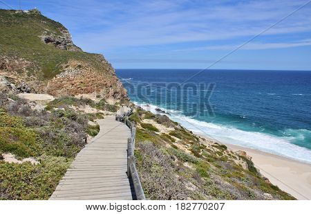 Boardwalks next to Dias beach. The Cape of Good Hope, Cape Town, South Africa.