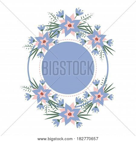 vector floral vignette in the form of a circle. Romantic floral frame for invitations, cards, stickers for wedding, birthday, holiday.