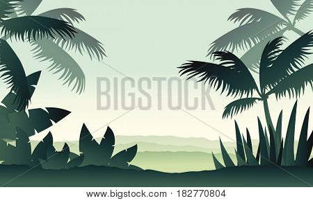 Jungle scenery with palm silhouettes vector illustration
