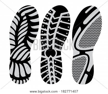 set footprint sport shoes stock vector design