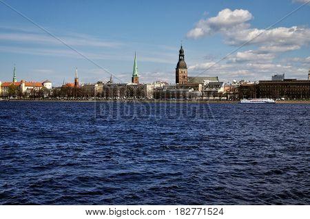 RIGA LATVIA - MAY 1 2011: Riga panorama from the river side.