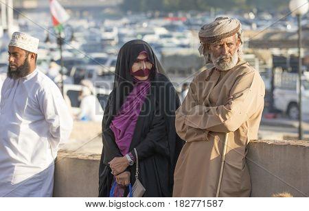 Local Couple At Nizwa Market In Oman