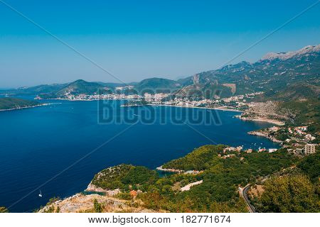 The Budva Riviera in Montenegro. Sea coast of Montenegro.