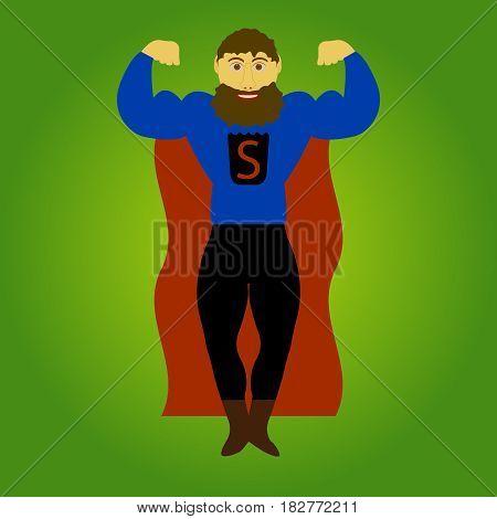 super beard man isolated on background. Vector illustration.