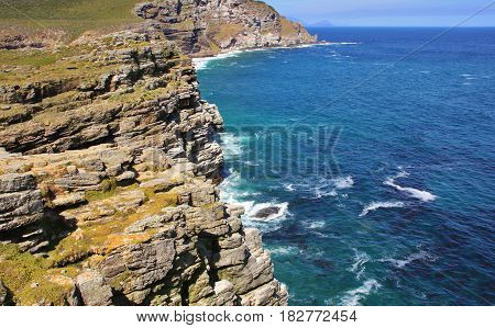 Rocky coast line next to Cape of Good Hope, Cape Town, South Africa.
