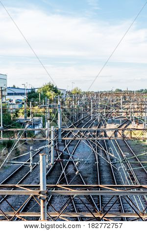 Day view over electric lines of English Railways.