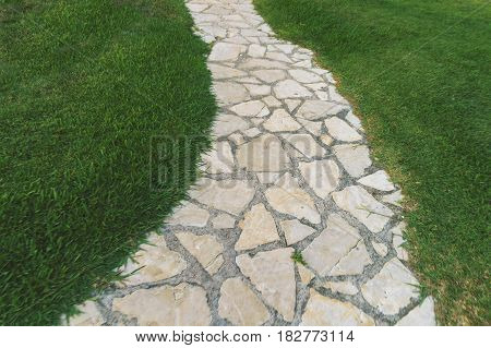 bendy paved pathway surrounded by well looked after lawn