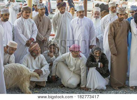 Omani Men Chatting At Nizwa Goat Market