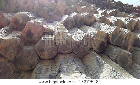 Basalt volcanic rocks in the gorge of Garni, Republic of Armenia