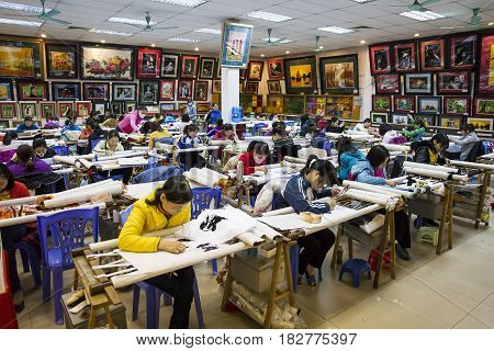 Hand Embroidered Painting Factory In Vietnam