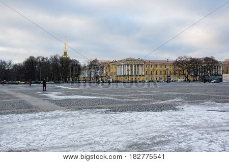 SAINT- PETERSBURG, RUSSIA - FEBRUARY 01, 2016: The Palace square in the winter Saint Petersburg Russia