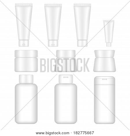 Set vector blank templates of empty white plastic containers. Bottles with shampoo tubes and jars with cream tubes with toothpaste