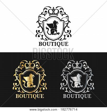 Vector monogram logo template. Luxury crown design. Graceful vintage griffin silhouettes illustration. Used for hotel, restaurant, boutique, jewellery invitation, business card etc.