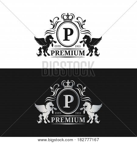 Vector monogram logo template. Luxury letter design. Graceful vintage character with pegasus symbols illustration. Used for hotel, restaurant, boutique, jewellery invitation, business card etc.