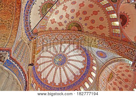 ISTANBUL, TURKEY - MARCH 30, 2013: Inside the islamic Blue mosque in Istanbul, Turkey