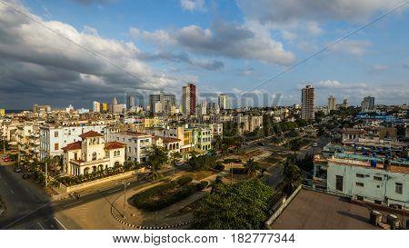 Afternoon panorama of Vedado neighborhood in Havana,Cuba