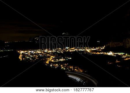 Night Panorama Of Torbole At Lago Di Garda