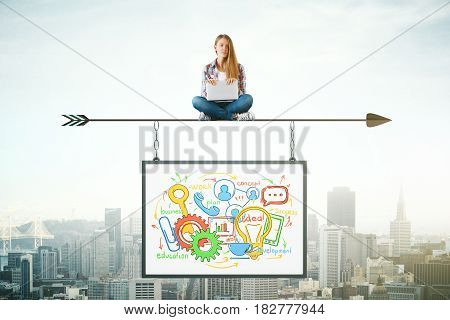 Woman sitting on abstract arrow with suspended business sketch. City background. Mock up. Profit concept