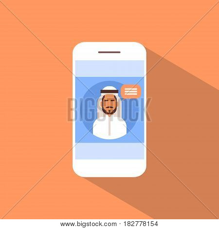 Cell Smart Phone With Muslim Man Chat Media Communication Social Network Flat Vector Illustration
