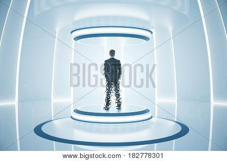 Back view of businessman inside abstract teleportation sation. Future technologies concept. 3D Rendering