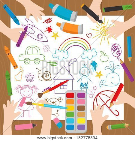 children draw at the desk - vector illustration, eps