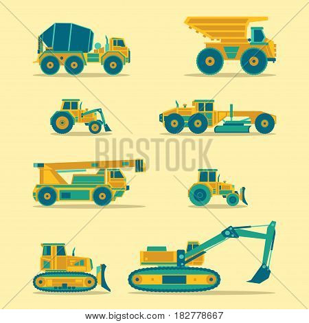 Vector flat icons set of construction vehicles. Road engineering signs. Industrial machinery symbols