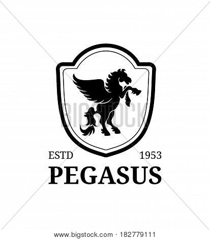 Vector pegasus logo template. Luxury monogram. Graceful vintage animal symbol illustration. Used for hotel, restaurant, boutique, jewellery invitation, business card etc.