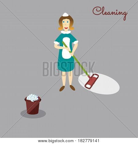 Сleaner with the tools for housekeeping: a burgundy bucket with soapy foam, MOP with green handle and cloth. Vector illustration. Cleaning