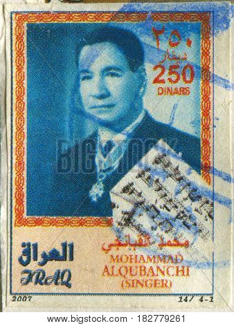 GOMEL, BELARUS, APRIL 21, 2017. Stamp printed in Iraq shows image of  The Muslim vocalist Muhammed al-Qubanchi, circa 2007.