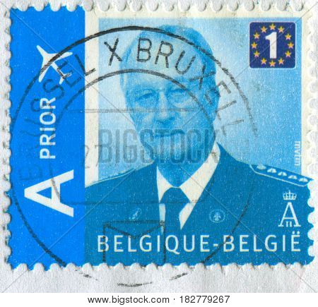 GOMEL, BELARUS, APRIL 21, 2017. Stamp printed in Belgium shows image of  The Albert II (born 6 June 1934) reigned as King of the Belgians, circa 2009.
