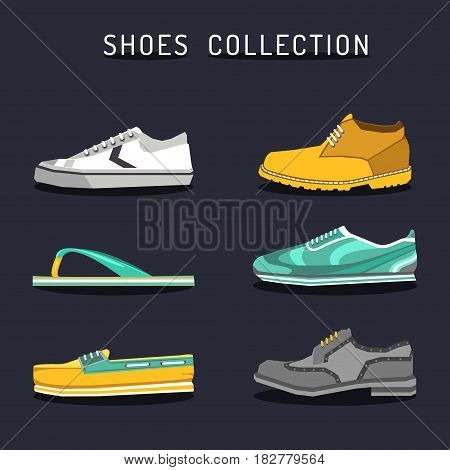 Vector set of different shoes icons in flat style. Footwear logos collection. Boot, ked, sneacker, oxford, sleepper, topsider illustrations.