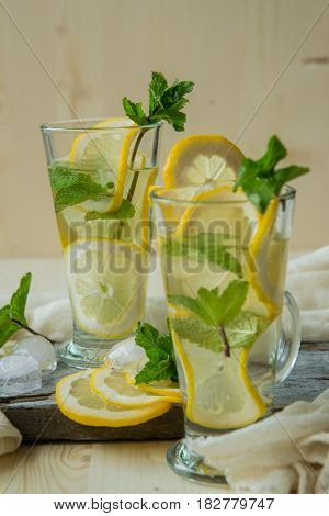 refreshing non-alcoholic or alcoholic Mojito Cocktail with lemon and mint