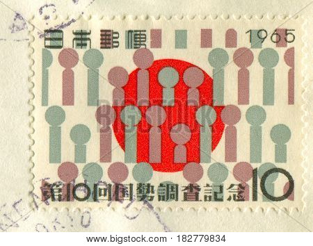 GOMEL, BELARUS, APRIL 20, 2017. Stamp printed in Japan shows image of  The Japanese flag, series 10th Census, circa 1965.