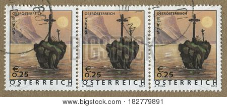 GOMEL, BELARUS, APRIL 20, 2017. Stamp printed in Austria shows image of  The Mondsee (Moon Lake) is a lake in the Upper Austrian part of the Salzkammergut and near the larger Attersee, circa 2003.