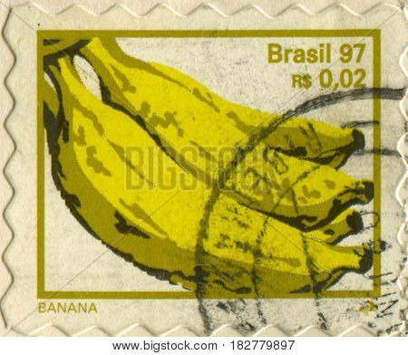 GOMEL, BELARUS, APRIL 21, 2017. Stamp printed in Brazil shows image of  The banana is an edible fruit - botanically a berry, circa 1997.