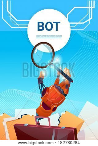 Chat Bot Search Robot Virtual Assistance Of Website Or Mobile Applications, Artificial Intelligence Concept Flat Vector Illustration