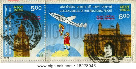 GOMEL, BELARUS, APRIL 20, 2017. Stamp printed in India shows image of  The Golden jublee of international flight, circa 1998.